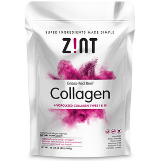 Zint, Grass-Fed Beef Collagen, Hydrolyzed Collagen Types I & III, 2 lbs (907 g)