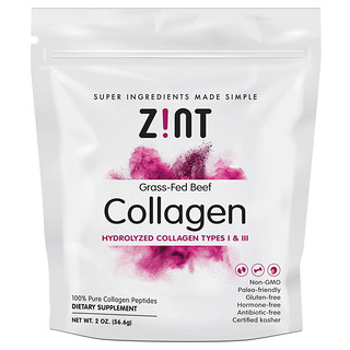 Zint, Collagène de bœuf de pâturage, Collagène hydrolysé de types I et III, 56,6 g (2 oz)