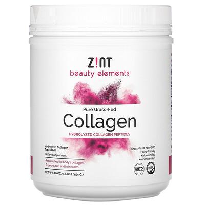 Zint коллаген, полученный от животных на травяном откорме, гидролизованные пептиды коллагена, 454г (16унций)  - Купить