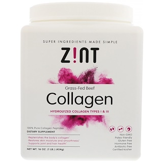 Z!NT, Grass-Fed Beef Collagen, Hydrolyzed Collagen Types 1 & III, 16 oz (454 g)