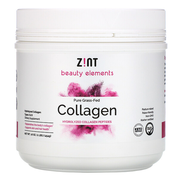 Pure Grass-Fed Collagen, Hydrolyzed Collagen Types I & III, 16 oz (454 g)