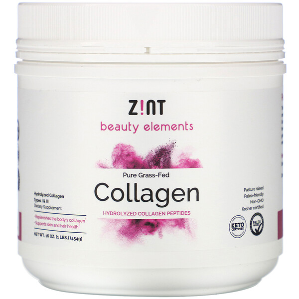 Zint, Pure Grass-Fed Collagen, Hydrolyzed Collagen Types I & III, 16 oz (454 g)