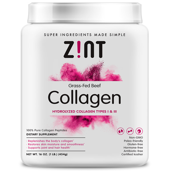 Zint, Grass-Fed Beef Collagen, Hydrolyzed Collagen Types 1 & III, 16 oz (454 g)