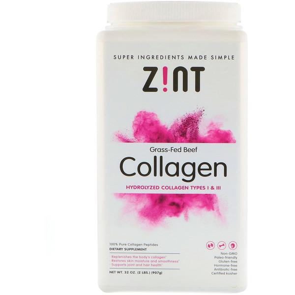 Zint, 草飼牛膠原蛋白,水解膠原蛋白I和III型,32 盎司(907 克)