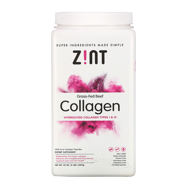 Zint, Grass-Fed Beef Collagen, Hydrolyzed Collagen Types I & III, 32 oz (907 g)