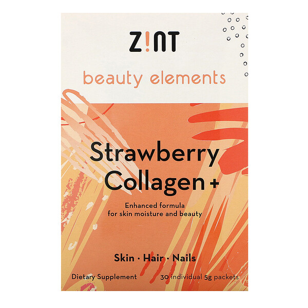Zint, Strawberry Collagen +, 30 Individual Packets, 5 g Each (Discontinued Item)