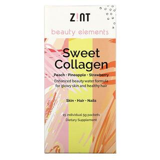 Zint, Сладкий коллаген, персик, ананас, клубника, 15 индивидуальных пакетов, по 5 г каждый