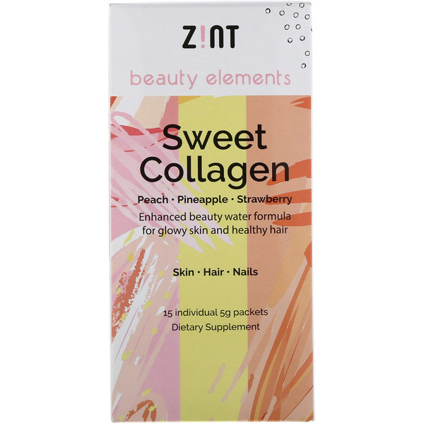 Zint, Sweet Collagen, Peach, Pineapple, Strawberry, 15 Individual Packets, 5 g Each