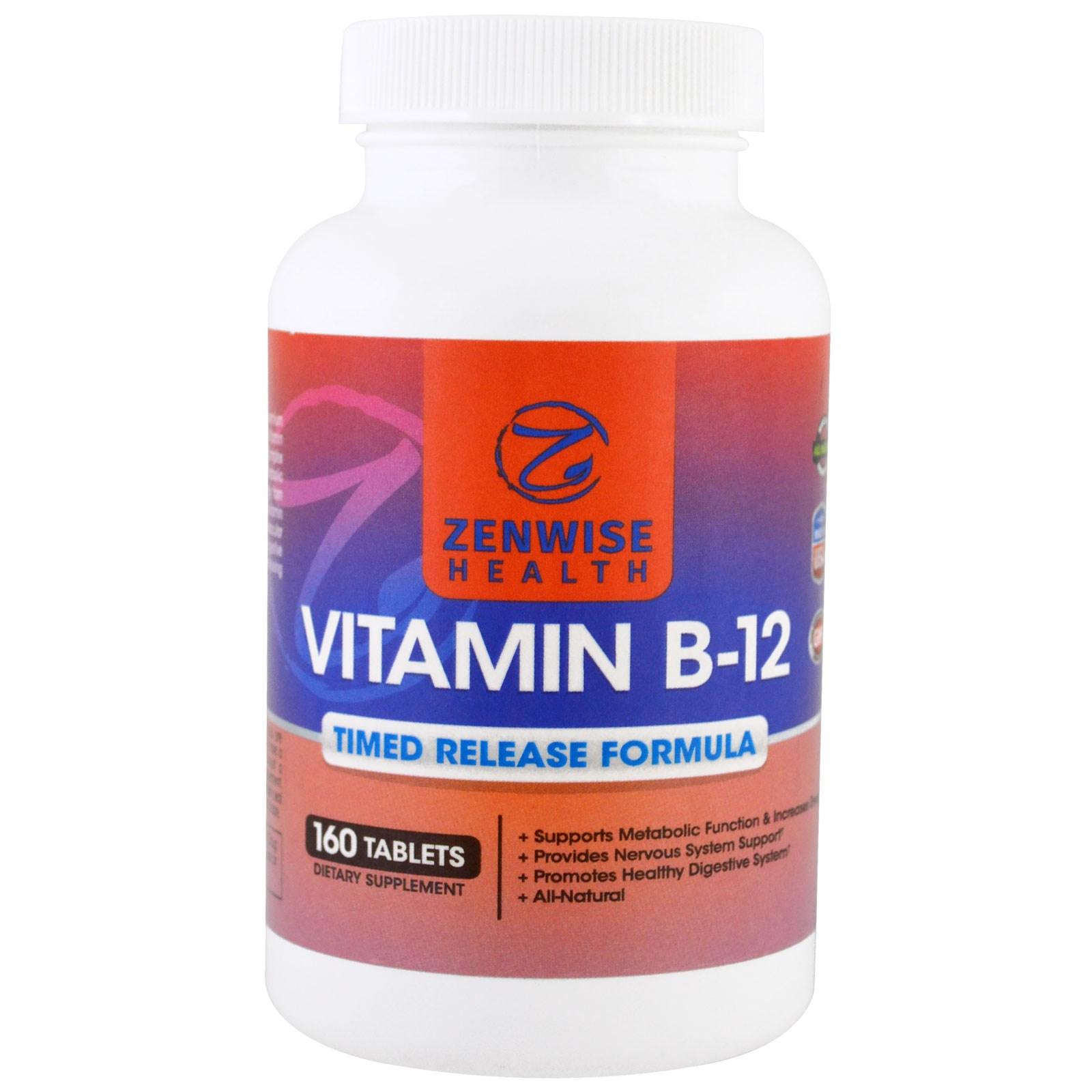 Zenwise Health, Vitamin B12, Timed Release Formula, 160 Tablets