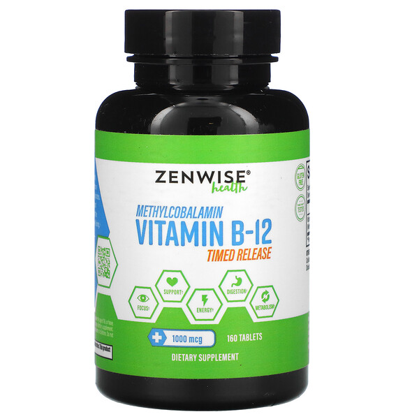 Zenwise Health, Methylcobalamin Vitamin B-12, Timed Release, 1,000 mcg, 160 Tablets (Discontinued Item)