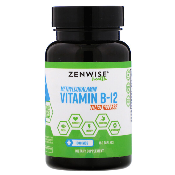 Zenwise Health, Methylcobalamin Vitamin B-12, Timed Release, 1,000 mcg, 160 Tablets