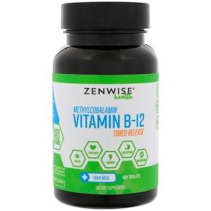 Zenwise Health, Methylcobalamin, Vitamin B-12, Timed Release, 1000 mcg, 160 Tablets