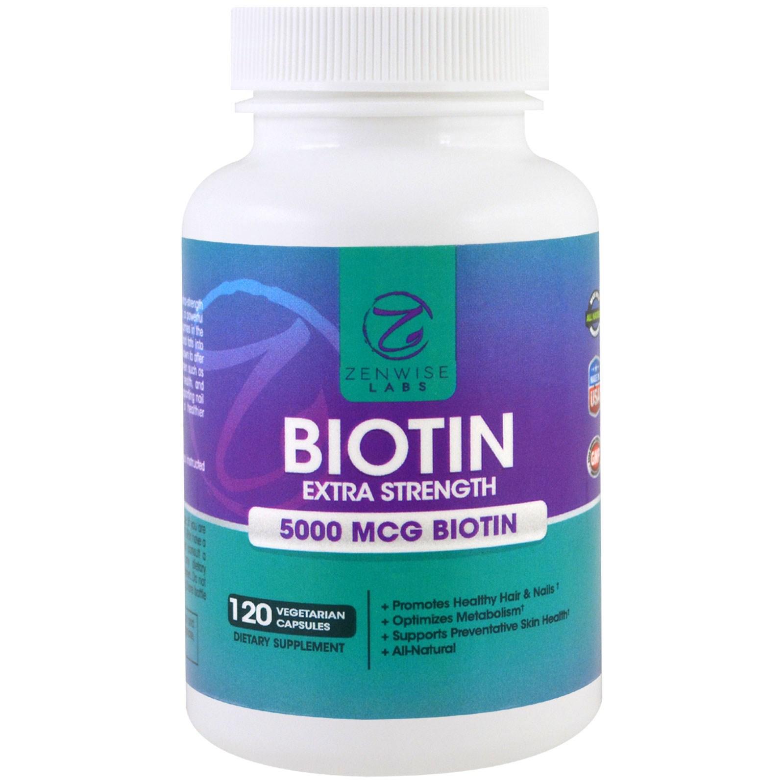 Zenwise Health, Биотин, экстра крепкий, 500 мкг, 120 капсул в растительной оболочке