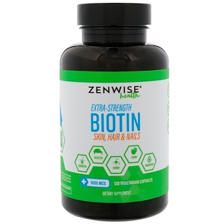 Zenwise Health, Extra-Strength Biotin, 5000 mcg, 120 Vegetarian Capsules