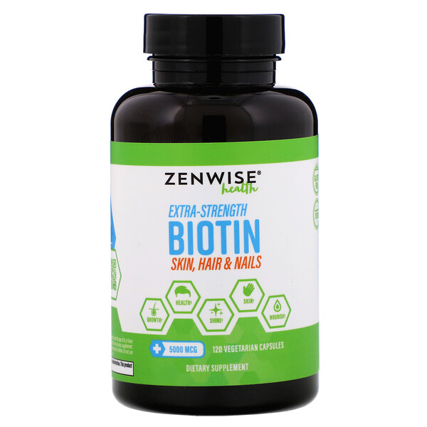 Zenwise Health, Extra-Strength Biotin, 5,000 mcg, 120 Vegetarian Capsules (Discontinued Item)