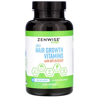 Daily Hair Growth Vitamins with DHT Blocker, 120 Vegetarian Capsules