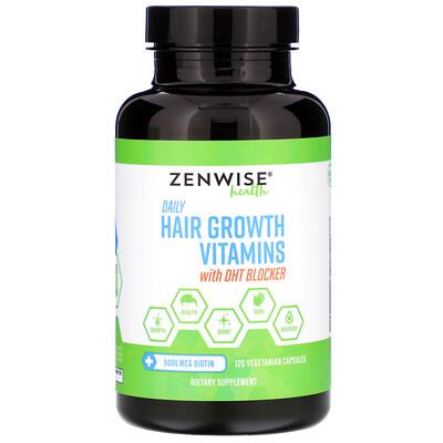 Daily Hair Growth Vitamins with DHT Blocker, 120 Vegetarian Capsules