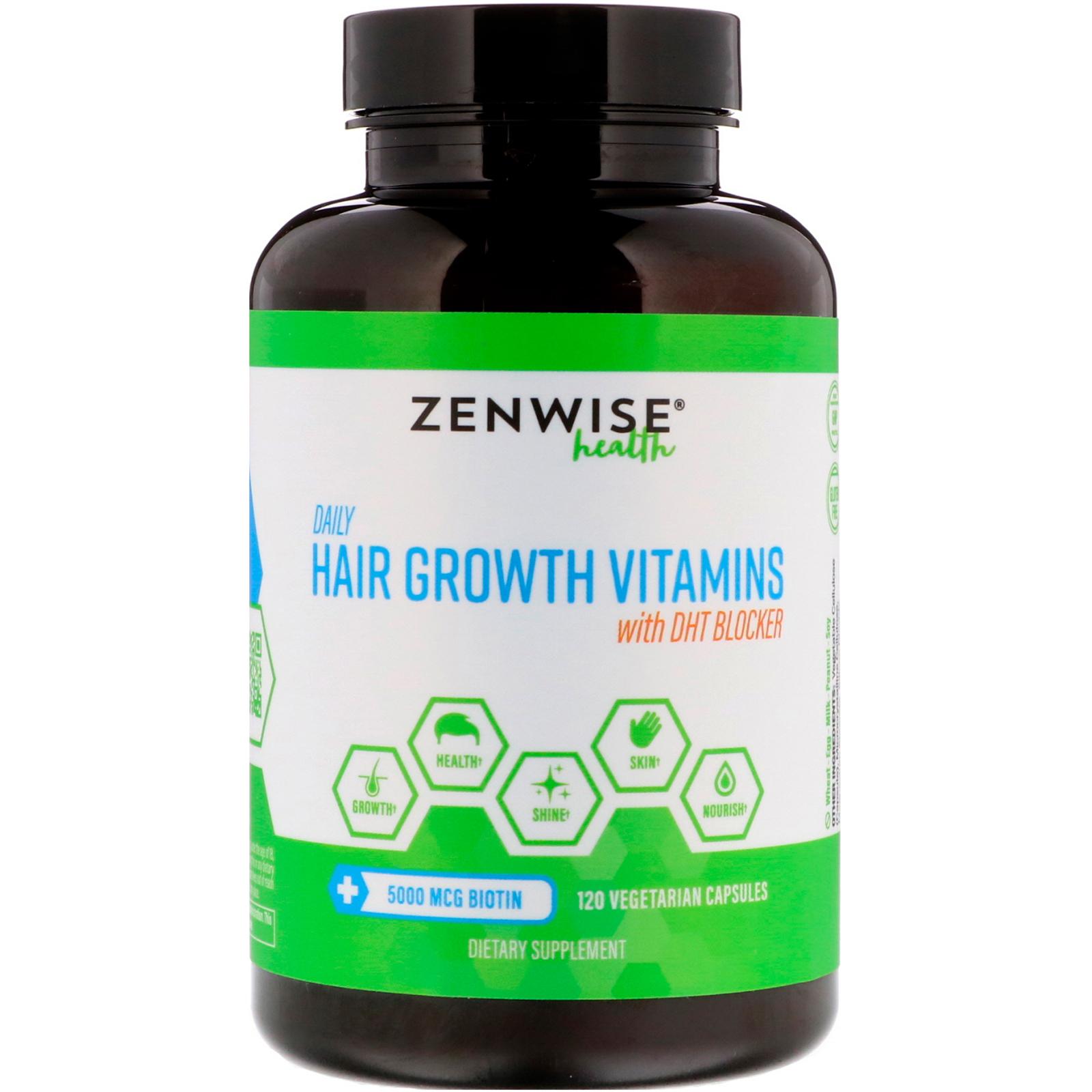 Hair Growth Vitamins >> Zenwise Health Daily Hair Growth Vitamins With Dht Blocker 120 Vegetarian Capsules