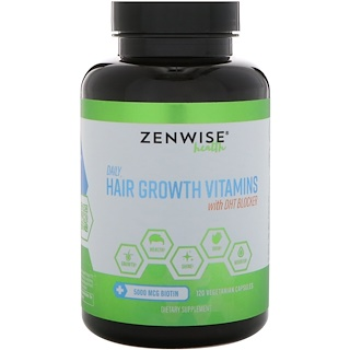 Zenwise Health, Витамины для роста волос, для ежедневного применения, блокиратор ДГТ, 120 вегетарианских капсул