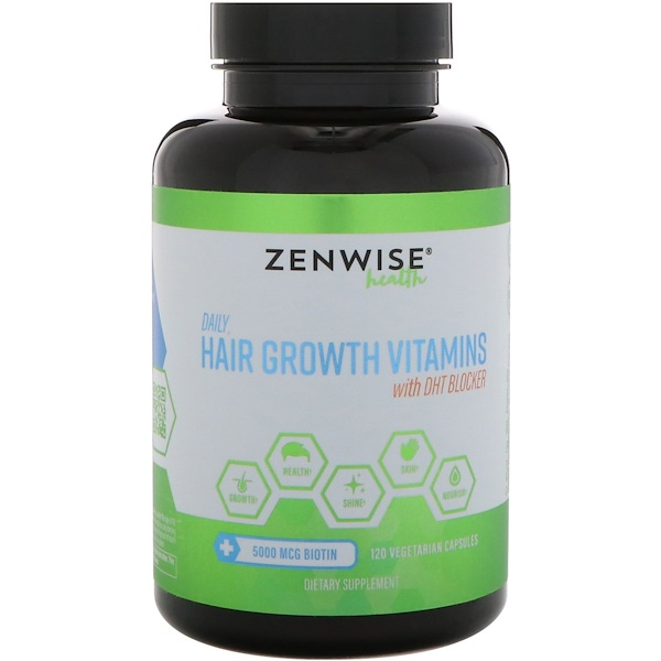 Zenwise Health, Daily Hair Growth Vitamins With DHT Blocker, 120 Vegetarian Capsules