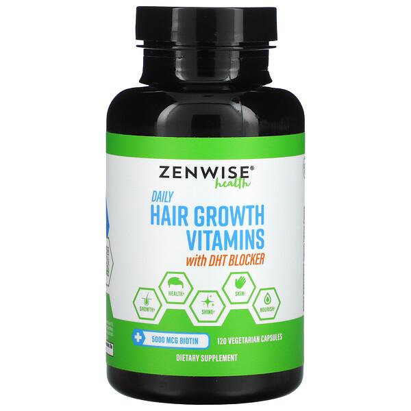 Zenwise Health, DHTブロッカー配合の毎日の育毛用ビタミン、ベジカプセル120粒
