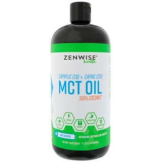Zenwise Health, Caprylic (C8) + Capric (C10) MCT Oil, 100% Kokosnuss, geschmacksneutral 946 ml