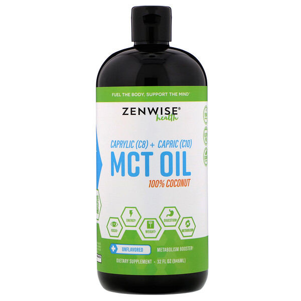 Caprylic (C8) + Capric (C10) MCT Oil, 100% Coconut, Unflavored, 32 fl oz (946 ml)