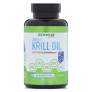 Zenwise Health, Омега 3, масло морского криля с SuperbaBoost, 60 мягких таблеток