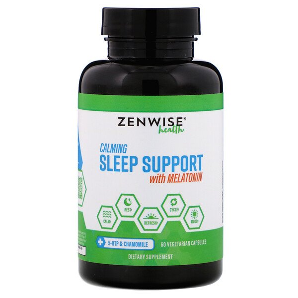 Zenwise Health, Calming Sleep Support with Melatonin, 60 Vegetarian Capsules