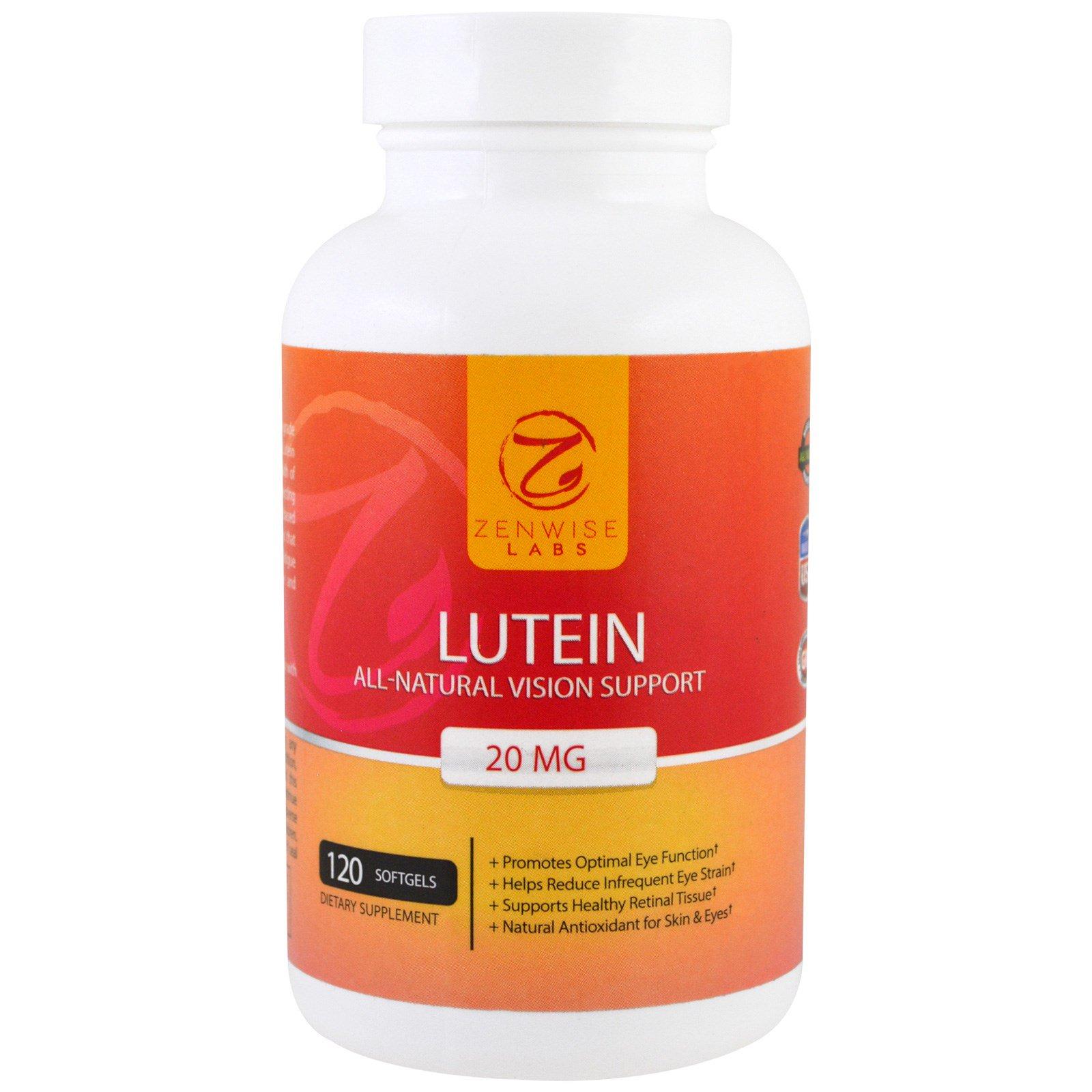 Zenwise Health, Лютеин, полностью натуральная поддержка зрения, 20 мг, 120 гелевых капсул