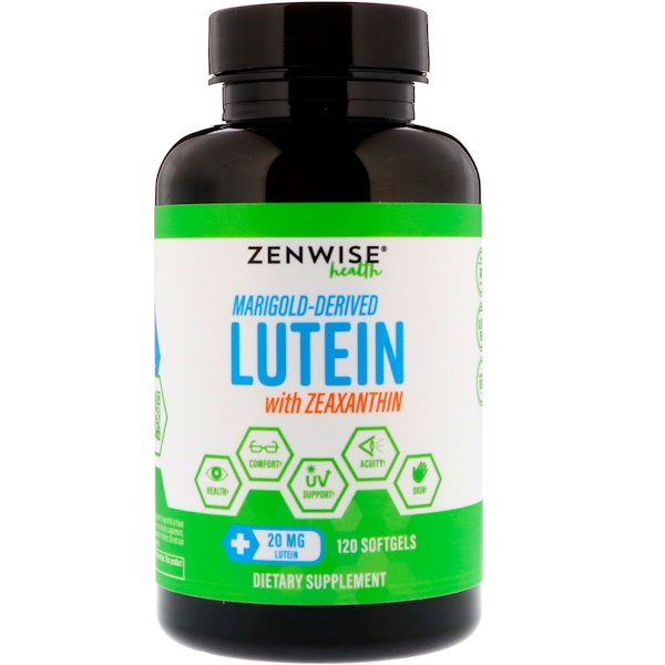Zenwise Health, Marigold-Derived Lutein with Zeaxanthin, 20 mg, 120 Softgels (Discontinued Item)