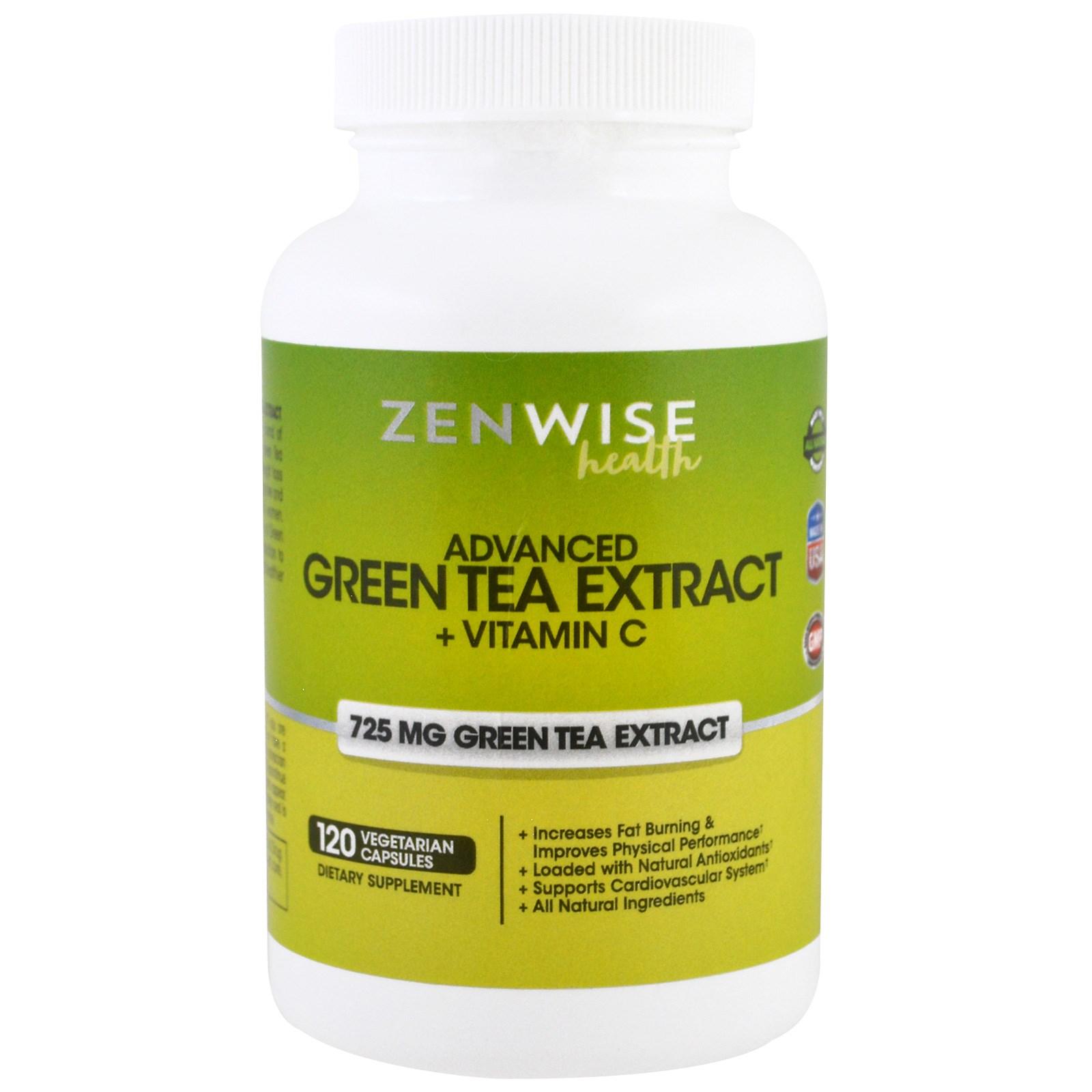 Zenwise Health, Расширенный экстракт зеленого чая плюс витамин C, 120 растительных капсул