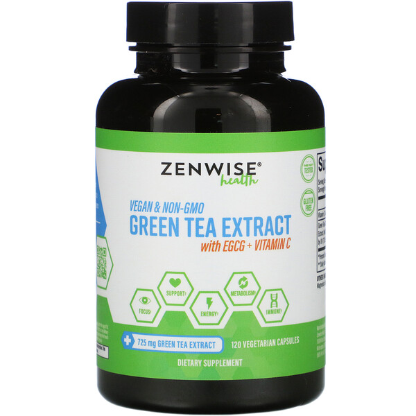Green Tea Extract with EGCG + Vitamin C, 120 Vegetarian Capsules