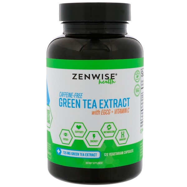 Zenwise Health, Caffeine-Free Green Tea Extract with EGCG + Vitamin C, 120 Vegetarian Capsules