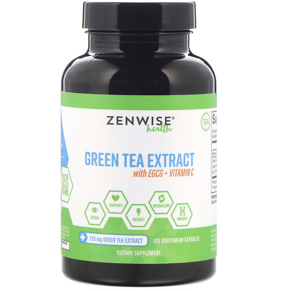 Zenwise Health, Green Tea Extract with EGCG + Vitamin C, 120 Vegetarian Capsules