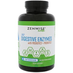 Zenwise Health, إنزيمات هضم يومية مع البريبيوتك + البروبيوتيك، 180 كبسولة نباتية