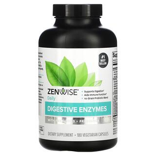 Zenwise Health, Verdauungsenzyme mit Präbiotika + Probiotika zur täglichen Einnahme, 180pflanzliche Kapseln