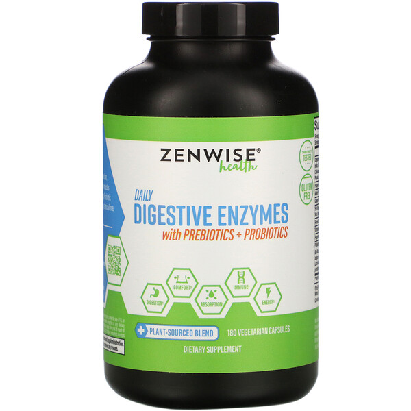 Daily Digestive Enzymes with Prebiotics + Probiotics, 180 Vegetarian Capsules