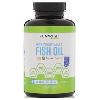 Zenwise Health, トリプルストレングス・オメガ3・フィッシュオイル(アラスクオメガ配合)、ソフトジェル120個