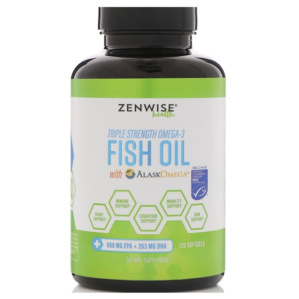 Zenwise Health, Triple Strength Omega-3 Fish Oil with AlaskOmega, 120 Softgels (Discontinued Item)