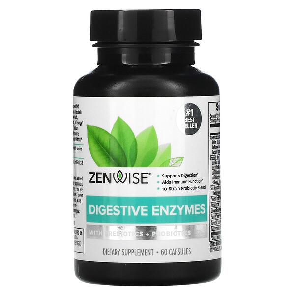 Zenwise Health, Digestive Enzymes with Prebiotics + Probiotics, 60 Capsules