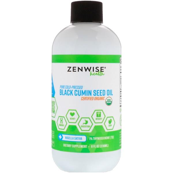 Zenwise Health, عضوي، نقي مضغوط على البارد، زيت بذور الكمون السوداء، 8 أوقية سائلة (236 مل)