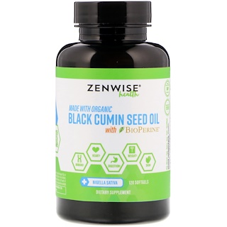 Zenwise Health, オーガニック、ブラッククミンシードオイル、バイオペリン配合、ソフトジェル120個