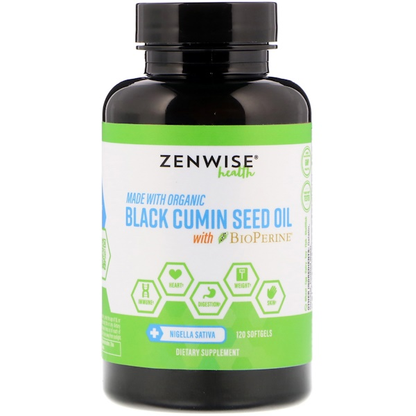 Zenwise Health, Organic, Black Cumin Seed Oil, with BioPerine, 120 Softgels (Discontinued Item)
