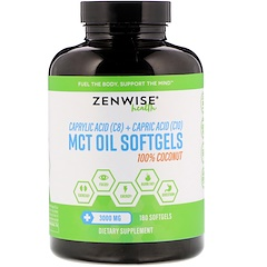 Zenwise Health, 100% Coconut MCT Oil, 3000 mg, 180 Softgels