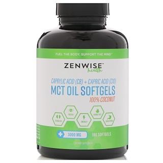 Zenwise Health, 100% Coconut MCT Oil, Caprylic Acid (C8) Plus Capric Acid (C10), 3000 mg , 180 Softgels