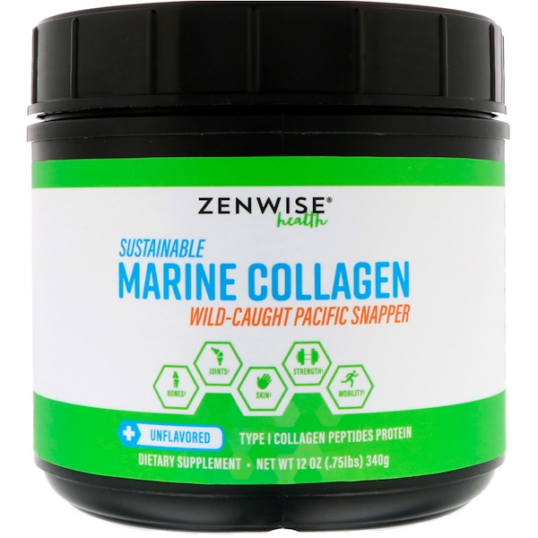 Zenwise Health, Sustainable Marine Collagen, Unflavored, 12 oz (340 g) (Discontinued Item)
