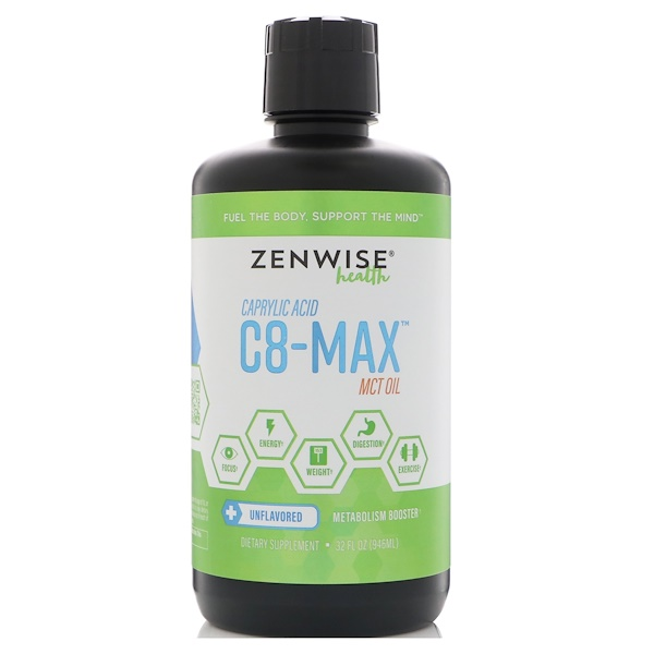 Zenwise Health, C8-MAX, Caprylic Acid MCT Oil, Metabolism Booster, Unflavored, 32 fl oz (946 ml)