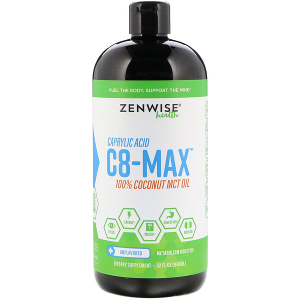 C8-MAX, Caprylic Acid MCT Oil, Metabolism Booster, Unflavored, 32 fl oz (946 ml)