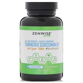 Zenwise Health, Turmeric Curcumin Q+, содержит Qmin+, Nem и BioPerine, 90 вегетарианских капсул